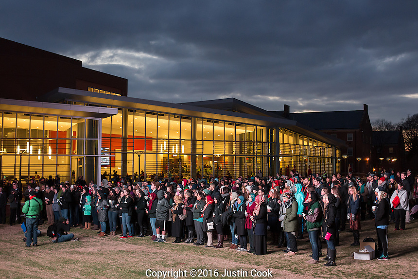 Hundreds attended a vigil on the one-year anniversary of the murder of Deah Barakat, his wife Yusor Mohammad Abu-Salha and her sister Razan Mohammad Abu-Salha (ALL NAMES CQ). A vigil was held in their honor at North Carolina State University in Raleigh, NC on Wednesday, February 10, 2016. (Justin Cook)