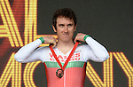 Wales' Geraint Thomas on the podium after winning bronze in the men's cycling time trial<br /> <br /> Photographer Chris Vaughan/Sportingwales<br /> <br /> 20th Commonwealth Games - Day 8 - Thursday 31st July 2014 - Cycling - time trial - Glasgow - UK