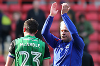 Scunthorpe United Caretaker Manager, Nick Daws applauds the away fans at the end of the match during Charlton Athletic vs Scunthorpe United, Sky Bet EFL League 1 Football at The Valley on 14th April 2018