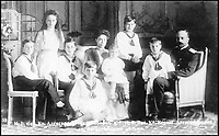 BNPS.co.uk (01202 558833)Pic: PrivateCollection/BNPS<br /> <br /> The family of Grand Duchess Xenia and Grand Duke Alexander Michaelovich (&lsquo;Sandro&rsquo;), 1909. Left to right: Prince Nikita, Princess Irina, Princes Andrei and Dmitri, Grand Duchess Xenia holding Prince Vassili, Princes Feodor and Rostislav and Grand Duke Alexander Michaelovich. All except Irina were held under house arrest after the revolution. <br /> <br /> A Russian Grand Duke branded King George V a 'scoundrel' who 'did not lift a finger' to save the Romanov family in the revolution there of 1917, explosive diaries have revealed.<br /> <br /> The cousin of the overthrown Russian Royal family blamed the British King for their executions because he failed to grant them refuge.<br />  <br /> Dmitri Pavlovich no-holds-barred diary extracts have been published for the first time in a new book by respected historian Coryne Hall, To Free The Romanovs.
