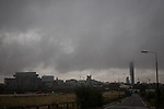 © Joel Goodman - 07973 332324 . 06/09/2013 . Manchester , UK . Manchester's Beetham Tower shrouded in cloud . Dark , wet skies above rainsoaked streets of bleak, cloudy Manchester this morning (Friday 6th September 2013) . Rainy weather spells the end of summer in Manchester . Photo credit : Joel Goodman