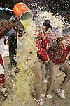 Arizona cardinals head coach Ken Whisenhunt gets a gatorade bath after a playoff win on the road against the Cariolina Panthers in Charlotte, North Carolina on January 10th, 2009.