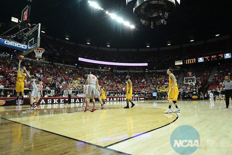 13 MAR 2013: The University of Wyoming takes on The University of New Mexico during the Mountain West Conference Men's Basketball Tournament held at the Thomas & Mack Center in Las Vegas, NV. Peter Lockley/NCAA Photos