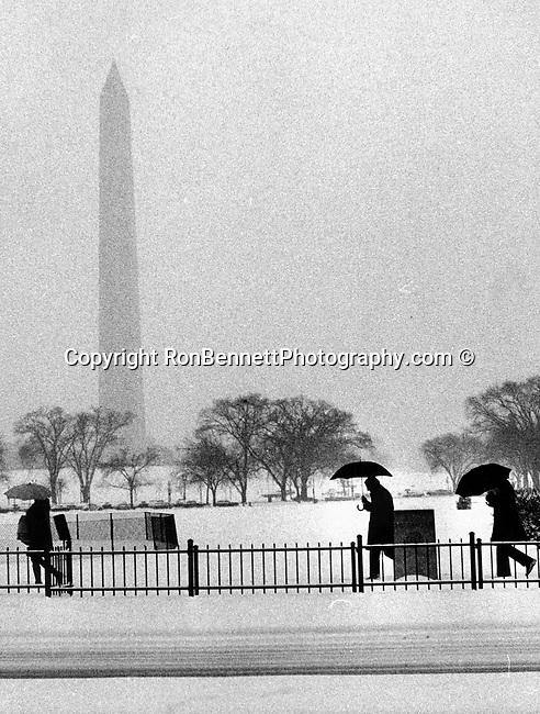 Washington Monument in Snow,
