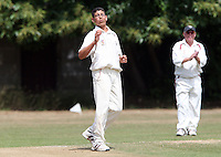 Abdul Asiri of Hornchurch after a near miss - Hornchurch CC 3rd XI vs Ardleigh Green CC 3rd XI, Essex Club Cricket at Fielders Sports Ground, Hornchurch - 03/07/10 - MANDATORY CREDIT: Rob Newell/TGSPHOTO - Self billing applies where appropriate - 0845 094 6026 - contact@tgsphoto.co.uk - NO UNPAID USE.