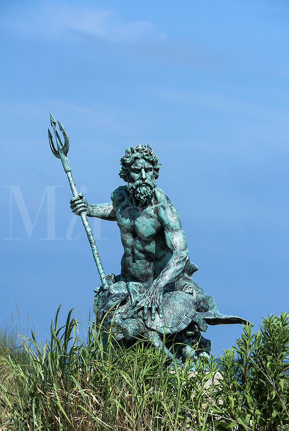 King Neptune maquette sculpture at Cape Charles beach, Virginia, USA