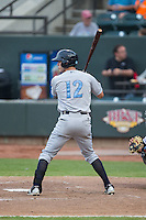 Logan Moon (12) of the Wilmington Blue Rocks at bat against the Winston-Salem Dash at BB&T Ballpark on June 10, 2015 in Winston-Salem, North Carolina.  The Blue Rocks defeated the Dash 11-5.  (Brian Westerholt/Four Seam Images)