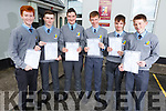 Students from St Pats Castleisland very happy with their Junior Cert results on Wednesday morning. L-r, Aiden Carey (Currow), Oisin McCarthy (Ballymac), Paddy Brosnan (7A's and 2B's and a Merit), Connie O'Connor (Currow), Josh McCarthy (Currow) and Timothy James Broderick (Castleisland).