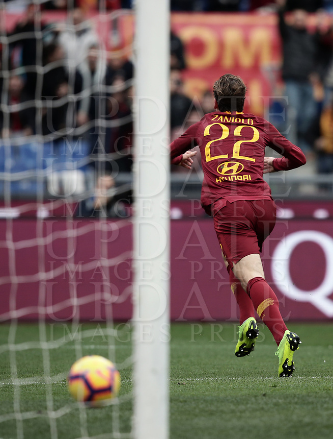 Football, Serie A: AS Roma - Torino, Olympic stadium, Rome, January 19, 2019. <br /> Roma's Nicolò Zaniolo celebrates after scoring during the Italian Serie A football match between AS Roma and Torino at Olympic stadium in Rome, on January 19, 2019.<br /> UPDATE IMAGES PRESS/Isabella Bonotto