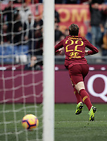 Football, Serie A: AS Roma - Torino, Olympic stadium, Rome, January 19, 2019. <br /> Roma's Nicol&ograve; Zaniolo celebrates after scoring during the Italian Serie A football match between AS Roma and Torino at Olympic stadium in Rome, on January 19, 2019.<br /> UPDATE IMAGES PRESS/Isabella Bonotto