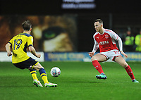 Fleetwood Town's Gethin Jones under pressure from Oxford United's Todd Kane<br /> <br /> Photographer Kevin Barnes/CameraSport<br /> <br /> The EFL Sky Bet League One - Oxford United v Fleetwood Town - Tuesday 10th April 2018 - Kassam Stadium - Oxford<br /> <br /> World Copyright &copy; 2018 CameraSport. All rights reserved. 43 Linden Ave. Countesthorpe. Leicester. England. LE8 5PG - Tel: +44 (0) 116 277 4147 - admin@camerasport.com - www.camerasport.com