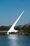 Sundial Bridge across Sacramento River in Redding in Northern California.Photo copyright Lee Foster.  Photo # california-sundial-bridge-cashas105001