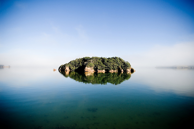 Pudding island relflected on a misty morning, Otago Peninsula, Dunedin. Buy this photo as a fine art or canvas print.