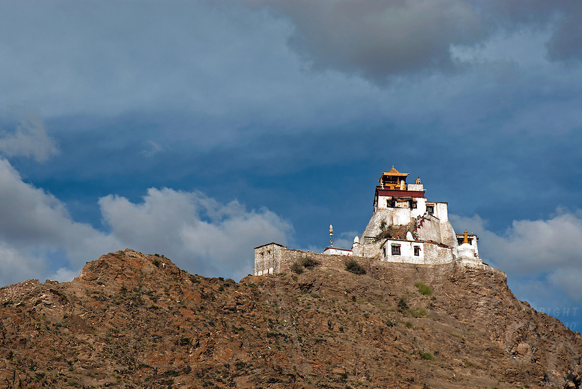 """First and oldest fortress of Tibet, Yumbulagang  above the Yarlung valley, Central Tibet, Tibet, China. The """"Birth Place of Tibet""""<br /> Yumbu Lakhang or Yumbu Lakhang is an ancient structure in the Yarlung Valley in the vicinity of Tsetang, Nêdong County, the seat of Lhoka Prefecture, in the southern Tibet Autonomous Region of China. According to legend, it was the first building in Tibet."""