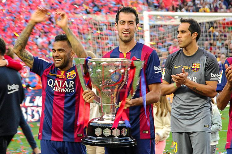 League BBVA 2014/2015. Game: 38.<br /> FC Barcelona vs Deportivo: 2-2.<br /> Dani Alves, Sergio Busquets &amp; Claudio Bravo.