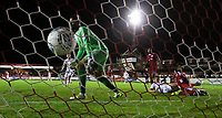 Accrington Stanley's Aaron Chapman can do nothing as Blackpool's Max Clayton scores his side's second goal <br /> <br /> Photographer Alex Dodd/CameraSport<br /> <br /> EFL Checkatrade Trophy - Northern Section Group B - Accrington Stanley v Blackpool - Tuesday 3rd October 2017 - Crown Ground - Accrington<br />  <br /> World Copyright &copy; 2018 CameraSport. All rights reserved. 43 Linden Ave. Countesthorpe. Leicester. England. LE8 5PG - Tel: +44 (0) 116 277 4147 - admin@camerasport.com - www.camerasport.com