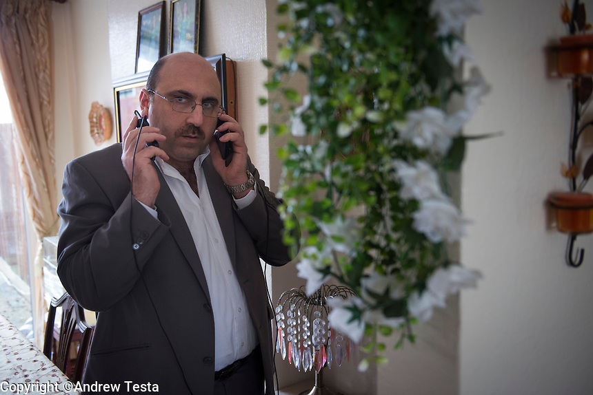 UK. London. 12th March 2013..Rami Abdul Rahman who runs the Syrian Observatory for Human Rights from his home in the suburbs of coventry..©Andrew Testa for the New York Times
