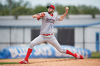 Clearwater Threshers starting pitcher Kyle Young (23) during a Florida State League game against the Dunedin Blue Jays on April 7, 2019 at Jack Russell Memorial Stadium in Clearwater, Florida.  Dunedin defeated Clearwater 2-1.  (Mike Janes/Four Seam Images)