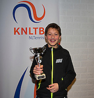November 30, 2014, Almere, Tennis, Winter Youth Circuit, WJC,  Prizegiving, Freek van Donselaar 4th place<br /> Photo: Henk Koster