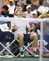 FLUSHING NY- SEPTEMBER 07: Andy Murray reacts during his match against Kei Nishikori on Arthur Ashe Stadium at the USTA Billie Jean King National Tennis Center on September 7, 2016 in Flushing Queens. Credit: mpi04/MediaPunch