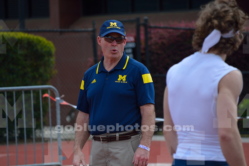 Michigan's Steven Bastien in the 100 meter dash during the 2016 Bulldog Decathlon-Heptathlon Event at Spec Towns Track on Wednesday, April 7, 2016 in Athens, Ga.