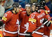 Jannik Fischer (Switzerland - 28), ?, Nino Niederreiter (Switzerland - 22) - Team Switzerland defeated Team Latvia 7-5 on Wednesday, December 30, 2009, at the Credit Union Centre in Saskatoon, Saskatchewan, during the 2010 World Juniors tournament.