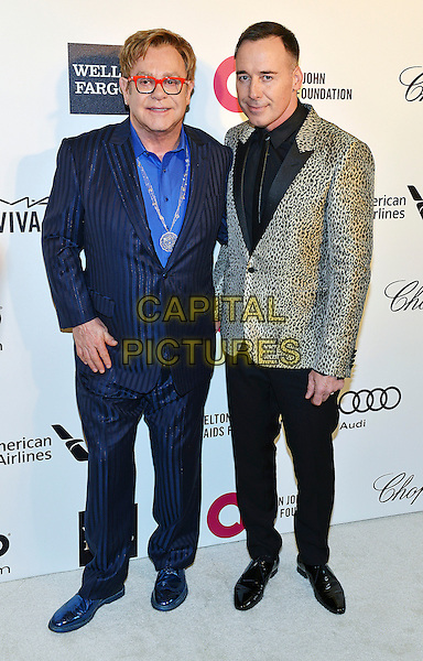 02 March 2014 - West Hollywood, California - Elton John and David Furnish. 22nd Annual Elton John Academy Awards Viewing Party held at West Hollywood Park.  <br /> CAP/ADM/CC<br /> &copy;ChewAdMedia/Capital Pictures