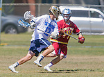 Corona Del Mar, CA 04/02/16 - Stephen Von Der Ahe (Corona Del Mar #12) and Noah Rubin (Torrey Pines #44) in action during the non-conference game between the Nike/LM High School Boys' National Western Region #4 Torrey Pines (#4) and #5 Corona Del Mar.  Torrey Pines defeated Corona Del Mar 9-8 in overtime.