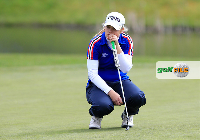 Celine Borge (NOR) on the 17th green on her way to winning the Irish Girl's Open Stroke Play Championship at Roganstown Golf &amp; Country Club on Sunday 17th April 2016.<br /> Picture:  Thos Caffrey / www.golffile.ie
