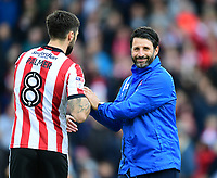 Lincoln City manager Danny Cowley, right, and Lincoln City's Ollie Palmer<br /> <br /> Photographer Chris Vaughan/CameraSport<br /> <br /> The EFL Sky Bet League Two - Lincoln City v Chesterfield - Saturday 7th October 2017 - Sincil Bank - Lincoln<br /> <br /> World Copyright &copy; 2017 CameraSport. All rights reserved. 43 Linden Ave. Countesthorpe. Leicester. England. LE8 5PG - Tel: +44 (0) 116 277 4147 - admin@camerasport.com - www.camerasport.com
