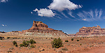 White clouds over Assembly Hall Peak in the Mexican Mountain Wilderness Study Area on the San Rafael Swell in Utah.