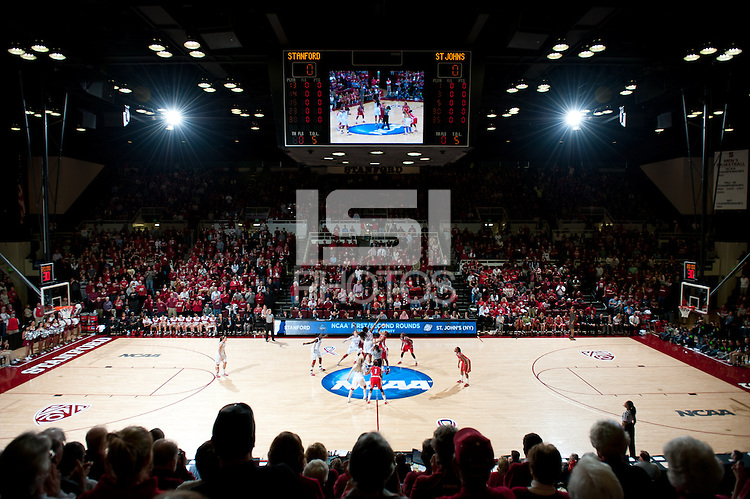 STANFORD, CA - March 21, 2011: Stanford Cardinal tipoff during Stanford's 75-51 win over St. John's during the second round of the NCAA tournament at Maples Pavilion in Stanford, California.