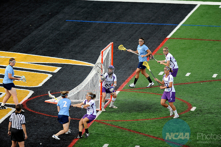 24 MAY 2009:  Morgan Lathrop (66) of Northwestern University defends the goal against the University of North Carolina during the Division I Women's Lacrosse Championship held at Johnny Unitas Stadium on the Towson University campus in Towson, MD.  Northwestern defeated UNC 21-7 for the national title.  Greg Fiume/NCAA Photos