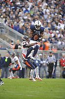 02 November 2013:  Penn State WR Allen Robinson (8) makes a leaping catch above Illinois DB Darius Mosely (24). The Penn State Nittany Lions defeated the Illinois Illini 24-17 in OT at Beaver Stadium in State College, PA.