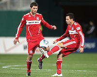 Peter Lowry #8 and Marco Pappa #16 of the Chicago Fire during an MLS match against D.C. United on April 17 2010, at RFK Stadium in Washington D.C. Fire won 2-0.