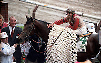Horse racing; racehorse; Thoroughbred; racetrack, Colonial Affair, Juile Krone, Centennial Farm, Belmont Stakes, 1993