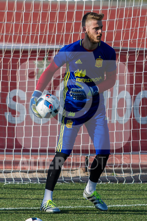Spain's David De Gea during the first training of the concentration of national soccer team before the Uefa Euro 2016.  Jun 4,2016. (ALTERPHOTOS/Rodrigo Jimenez)