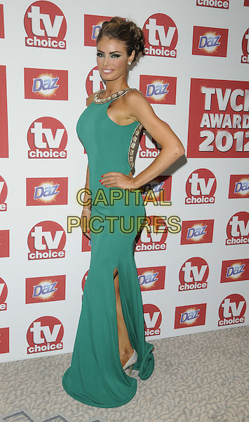 Chloe Sims.The TV Choice Awards 2012, Dorchester Hotel, Park Lane, London, England..September 10th, 2012.full length green sleeveless dress hand on hip side split split .CAP/CAN.©Can Nguyen/Capital Pictures.