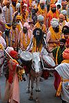 Sadhus or holy men at the Kumbh Mela Festival, Allahabad, India