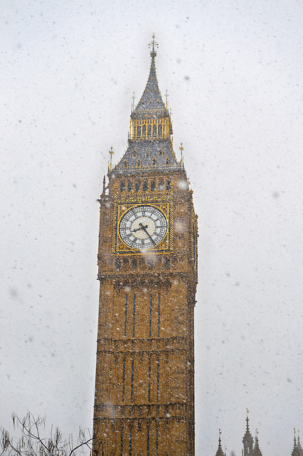 Big Ben in the snow - London England