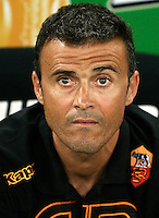 AS Roma coach Luis Enrique, of Spain, looks on prior to the start of an Europa League preliminary second leg football match between AS Roma and SK Slovan Bratislava, at Rome's Olympic stadium, Roma, 25 august 2011..UPDATE IMAGES PRESS/Riccardo De Luca