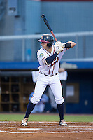 Brett Cumberland (26) of the Danville Braves at bat against the Burlington Royals at American Legion Post 325 Field on August 16, 2016 in Danville, Virginia.  The game was suspended due to a power outage with the Royals leading the Braves 4-1.  (Brian Westerholt/Four Seam Images)