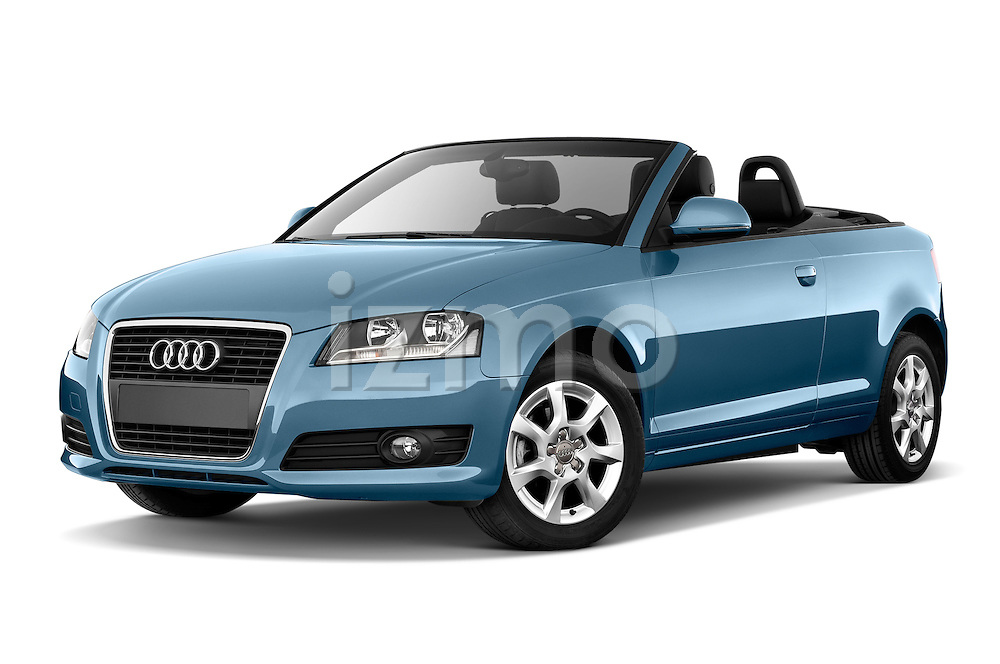 Low aggressive front three quarter view of a 2003 - 2012 Audi A3 Attraction 2-Door Convertible.