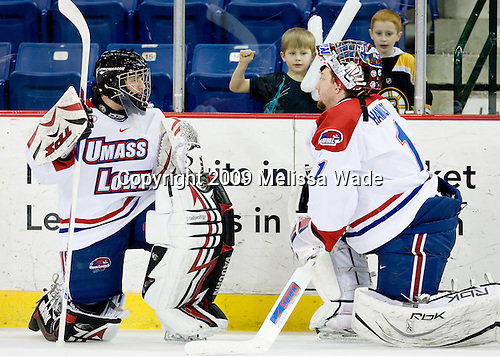 Michael Heffrom (UMass-Lowell - 34), Nevin Hamilton (UMass-Lowell - 1) - The Northeastern University Huskies defeated the University of Massachusetts-Lowell Riverhawks 3-1 on Saturday, February 28, 2009, at the Paul E. Tsongas Arena in Lowell, Massachusetts.