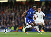 12th September 2017, Stamford Bridge, London, England; UEFA Champions League Group stage, Chelsea versus Qarabag FK; Michy Batshuayi of Chelsea turns the ball away from Rashad Sadygov of Qarabag FK