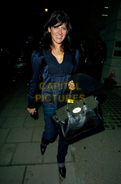 EMMA FREUD.The Established & Sons Gallery Opening, London, England. .October 11th, 2007.full length black dress bag purse jeans denim blue top .CAP/CAN.©Can Nguyen/Capital Pictures