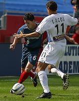 New England's Jay Heaps, San Jose vs. New England, Foxboro, Ma, May 3, 2003. San Jose won 2-0.