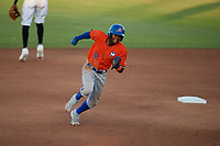 St. Lucie Mets Hansel Moreno (12) running the bases during a Florida State League game against the Bradenton Barbanegras on July 27, 2019 at LECOM Park in Bradenton, Florida.  Bradenton defeated St. Lucie 3-2.  (Mike Janes/Four Seam Images)
