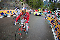hard day on the bike for Nacer Bouhanni (FRA/FDJ) (as for all sprinters), tagging along at the tailside of the grupetto.<br /> <br /> 2014 Giro d'Italia <br /> stage 16: Ponte di Legno - Val Martello (139km)