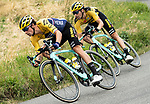 Primoz Roglic (SLO) and Tom Dumoulin (NED) Team Jumbo-Visma set the pace on the front of the peloton during Stage 1 of Criterium du Dauphine 2020, running 2185km from Clermont-Ferrand to Saint-Christo-en-Jarez, France. 12th August 2020.<br /> Picture: ASO/Alex Broadway | Cyclefile<br /> All photos usage must carry mandatory copyright credit (© Cyclefile | ASO/Alex Broadway)